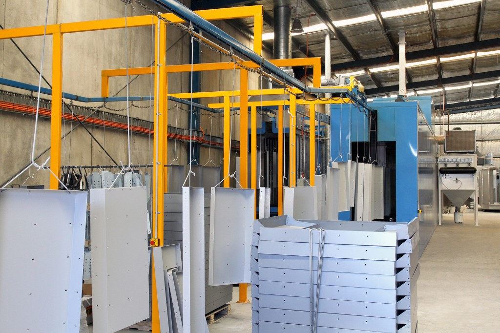 The Caddy Storage powder coating line in action