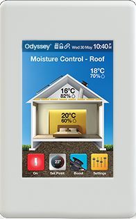 Odyssey measures air moisture content and relative humidity in the roof space, the living areas and outside the home.